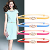 Vintage style alloy buckle material genuine leather belt for women