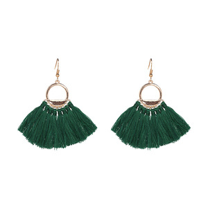 Vintage Fashion Women Gold Plated Bohemia Sector Short Cotton Silk Thread Tassel Drop Hook Earring
