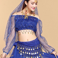 BestDance Belly Dancer Dancing Costume Top Belt Hip Scarf Skirt Suit Dress Hollywood Festival Costume OEM
