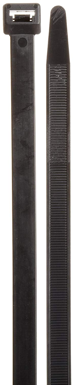 "Morris Products 20296 Ultraviolet Nylon Cable Ties, Black, 28-1/2"" Length, 1/2"" Width, 250lbs Tensile Strength, 8.86"" Max Bundle Diameter (Pack of 100)"