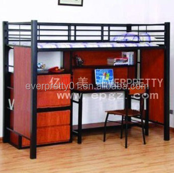 Cheap Strong Dormitory Furniture Metal Dorm Bed With Computer Desk