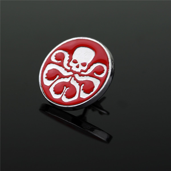enamel skull scary zinc alloy badges customized good quality hard enamel round shape lapel pins