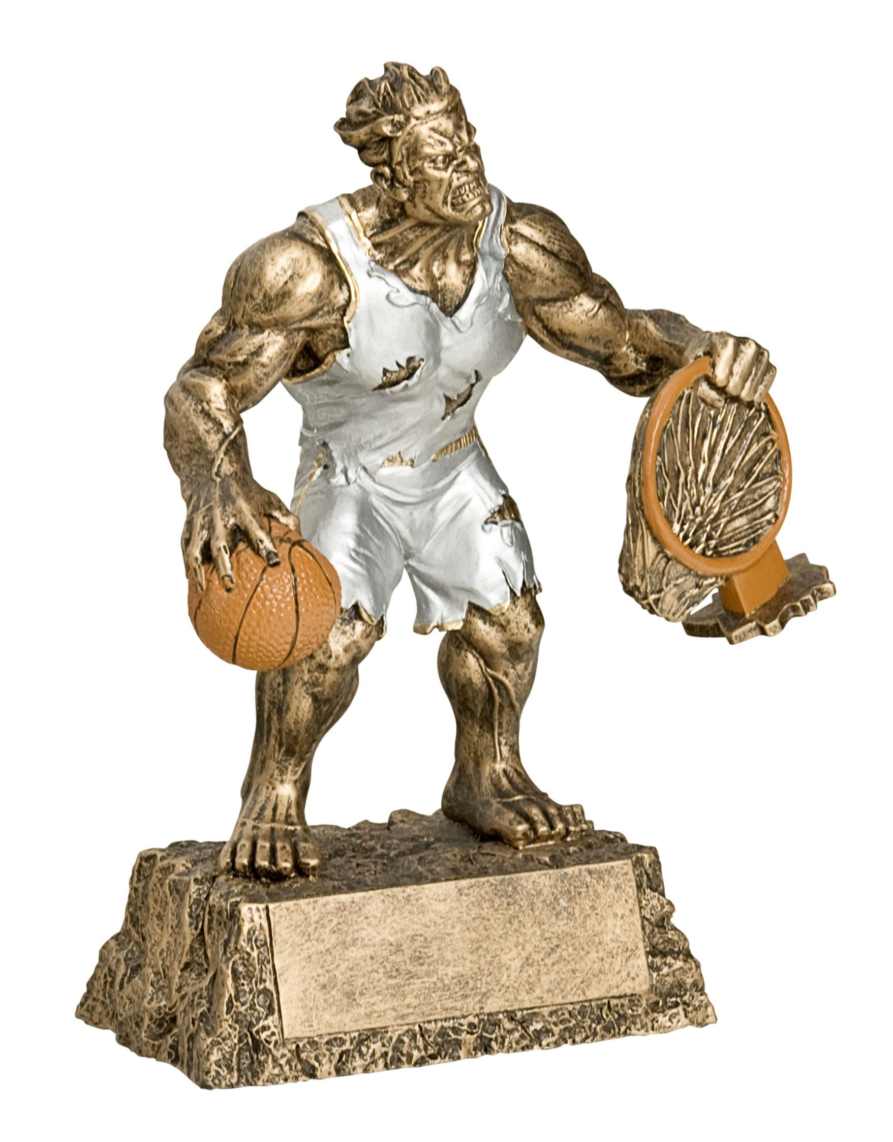 Monster Basketball Trophy - Engraved Plates by Request - Perfect Basketball Award Trophy - Hand Painted Design - Made by Heavy Resin Casting - for Recognition - Decade Awards
