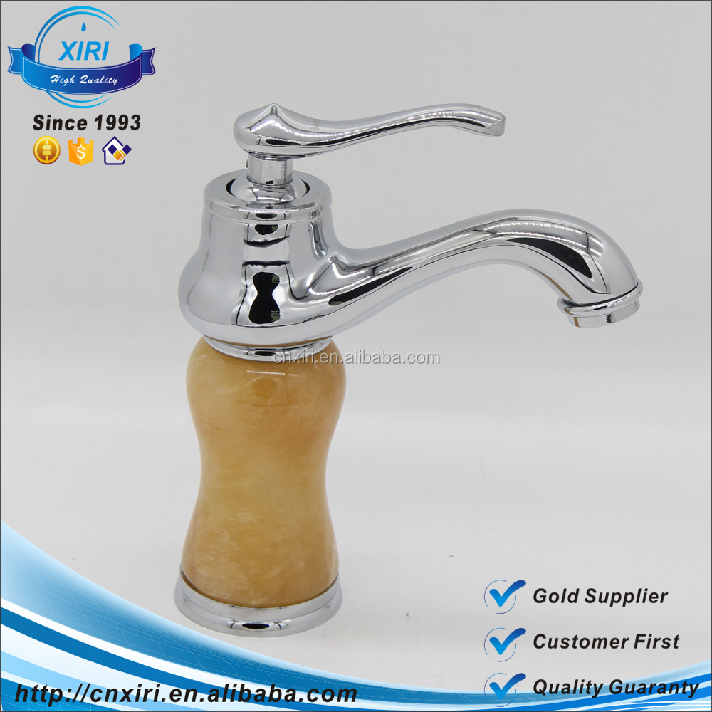 Europe royal luxury chrome single hole single handle marble body brass basin faucet SM1005