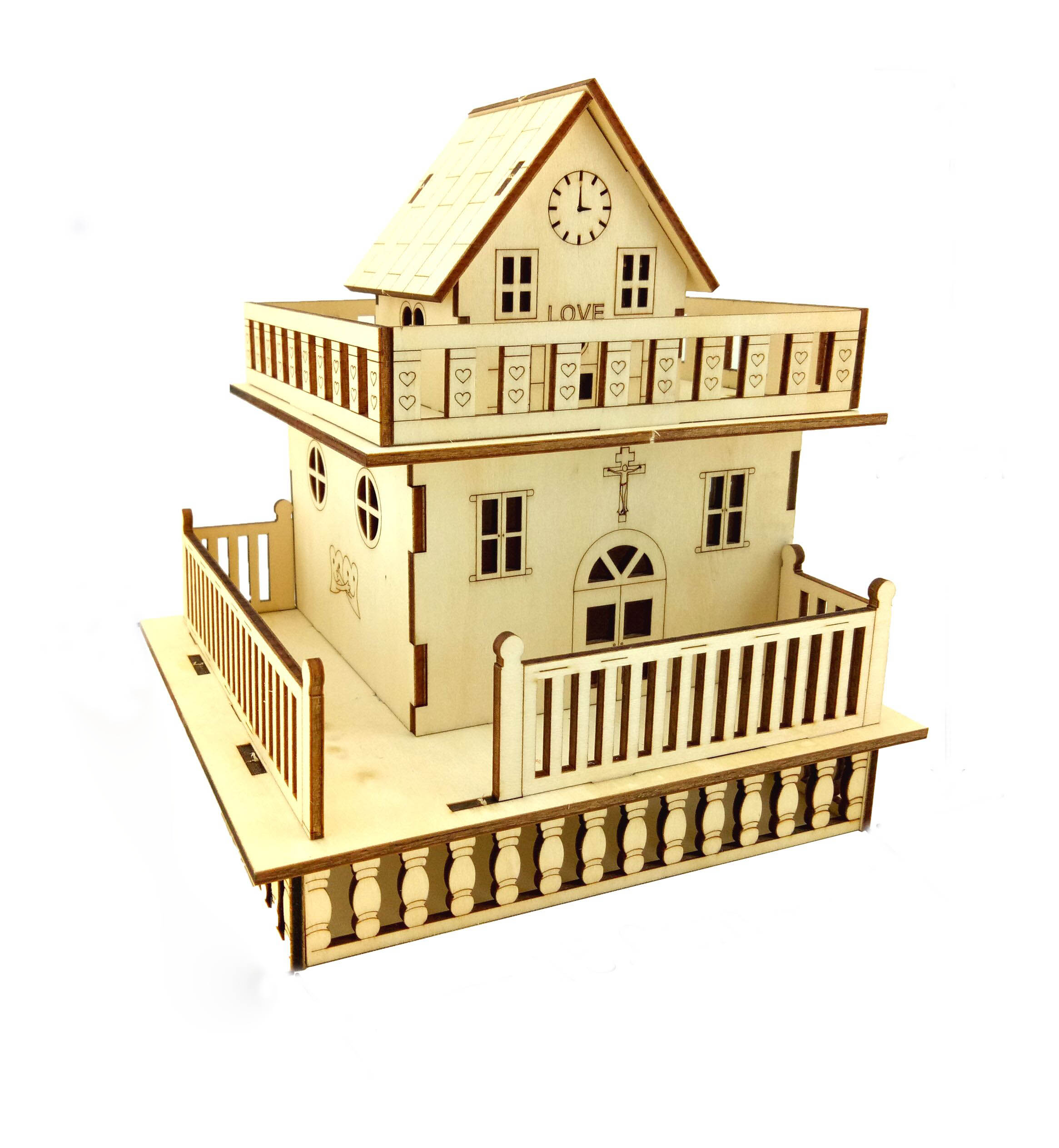 wholesale custom  laser cut unfinished crafts DIY wooden toy house