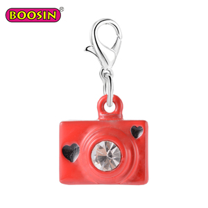 Enamel crystal charm for jewelry hidden camera necklace women pendant