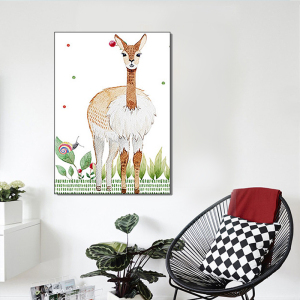 Nursery Cartoon Cute Rabbit And Deer canvas wall art Animal oil painting nursery baby room decor