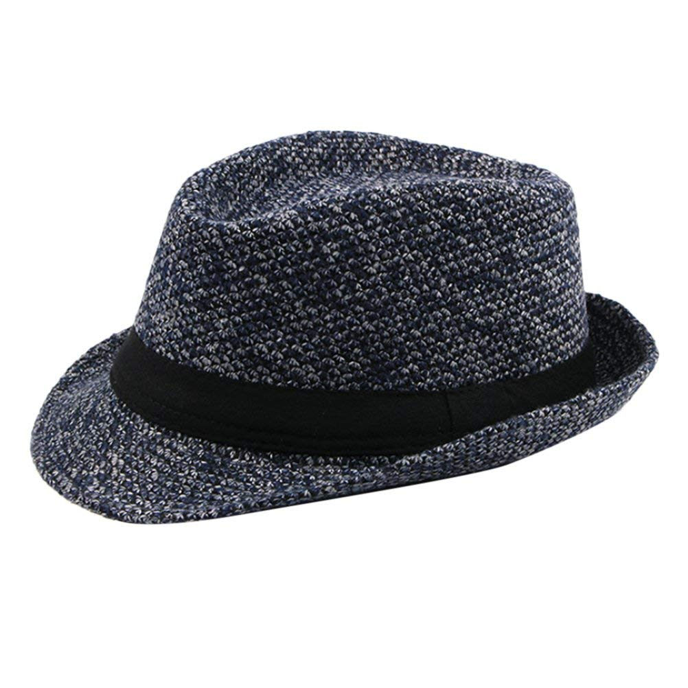 Get Quotations · Zhhlinyuan Mens Classic Vintage Tweed Fedora Trilby Hat  Jazz Hat with Black Band e5eee77bcab