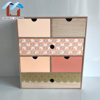 Home Decor Wooden Storage Box With Drawers Desk Tidy Organizer Mini Cabinet