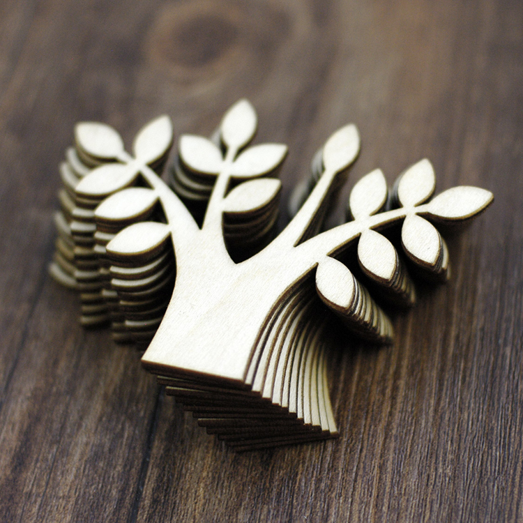 Custom Laser Cut Wood tree Shapes for DIY Scrapbook Decoration