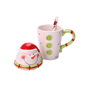 Christmas Snowman Ceramic Dolomite Coffee Mug Tea Cup with Lid and Spoon