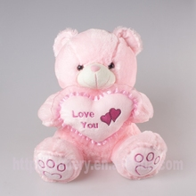 cute baby plush pink bear toys with heart for valentine gifts