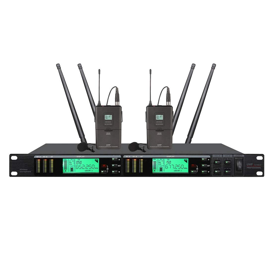 Poly audio Wireless Lavalier Microphones Professional Long-Range True Diversity UHF Wireless Microphone System Stage Performance Microphone for Church,Home Karaoke, Business Meetings