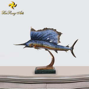New design brass animal statue swordfish figurine with base