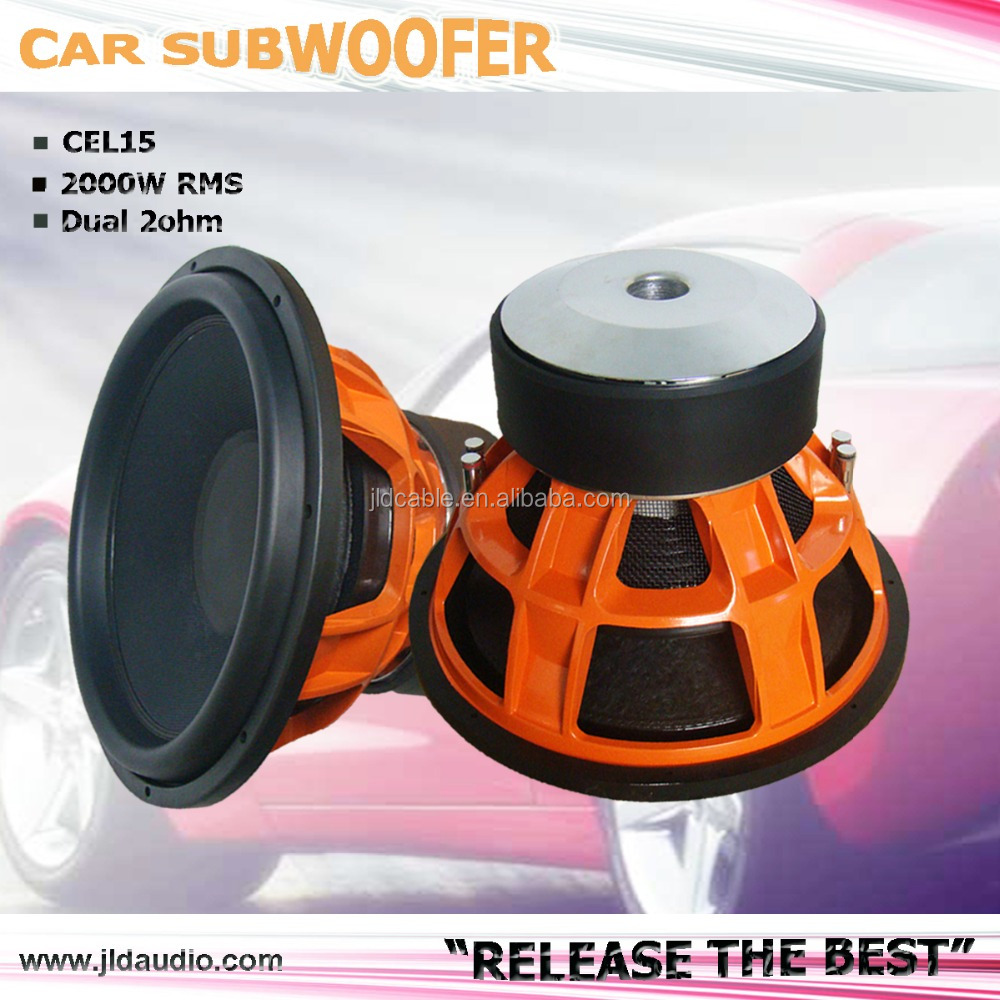 16years OEM experience company 1year warranty High quality orange Aluminum basket 2000W RMS 15inch subwoofer car audio
