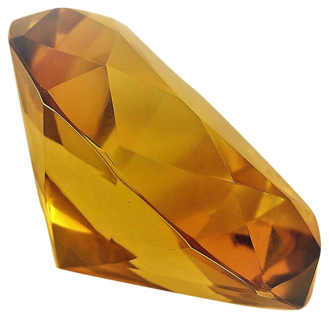 Hongville Fancy 80 mm Crystal Glass Diamond Paperweight, Orange