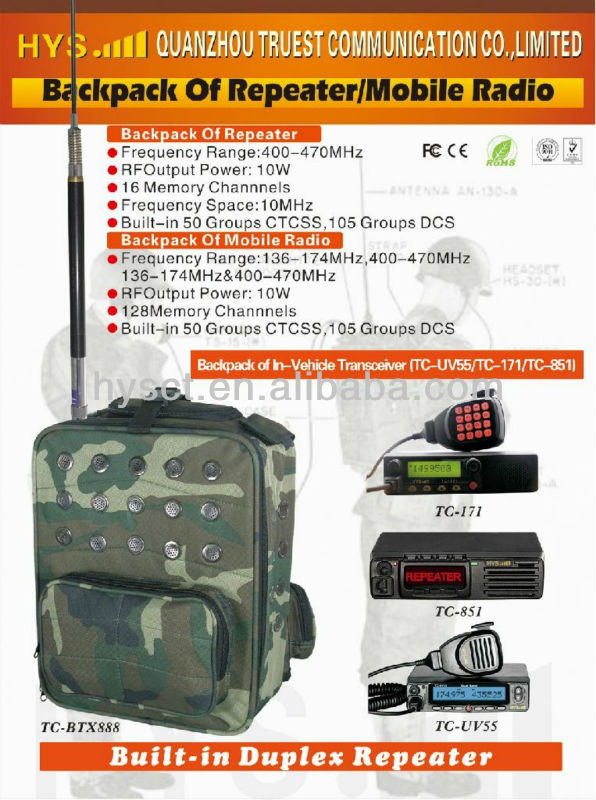 25/10w Vhf/uhf Backpack Mobile Repeater From China Tc-btx888 - Buy Vhf Uhf  Repeater,Mobile Repeater,Radio Repeater Product on Alibaba com