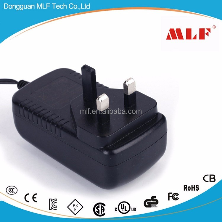 12V 3A AC DC power adapter UK 3pin plug in wall mount power supply with CE GS TUV for IT 60950 and 60065 standard use