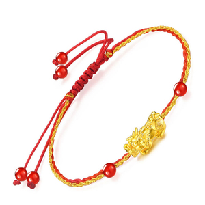 Homemade Funky Red Rope Yellow Gold Mythical Wild Animal Bracelet Jewellery