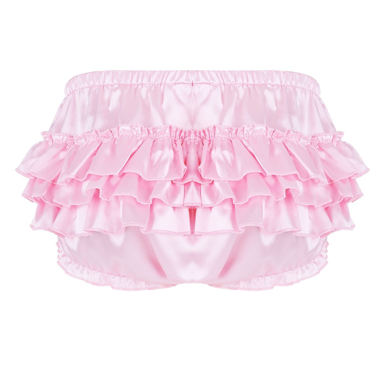 FEESHOW Mens Shiny Satin Frilly Thong Sissy Crossdress Bloomer Ruffled Skirted Panties Underwear