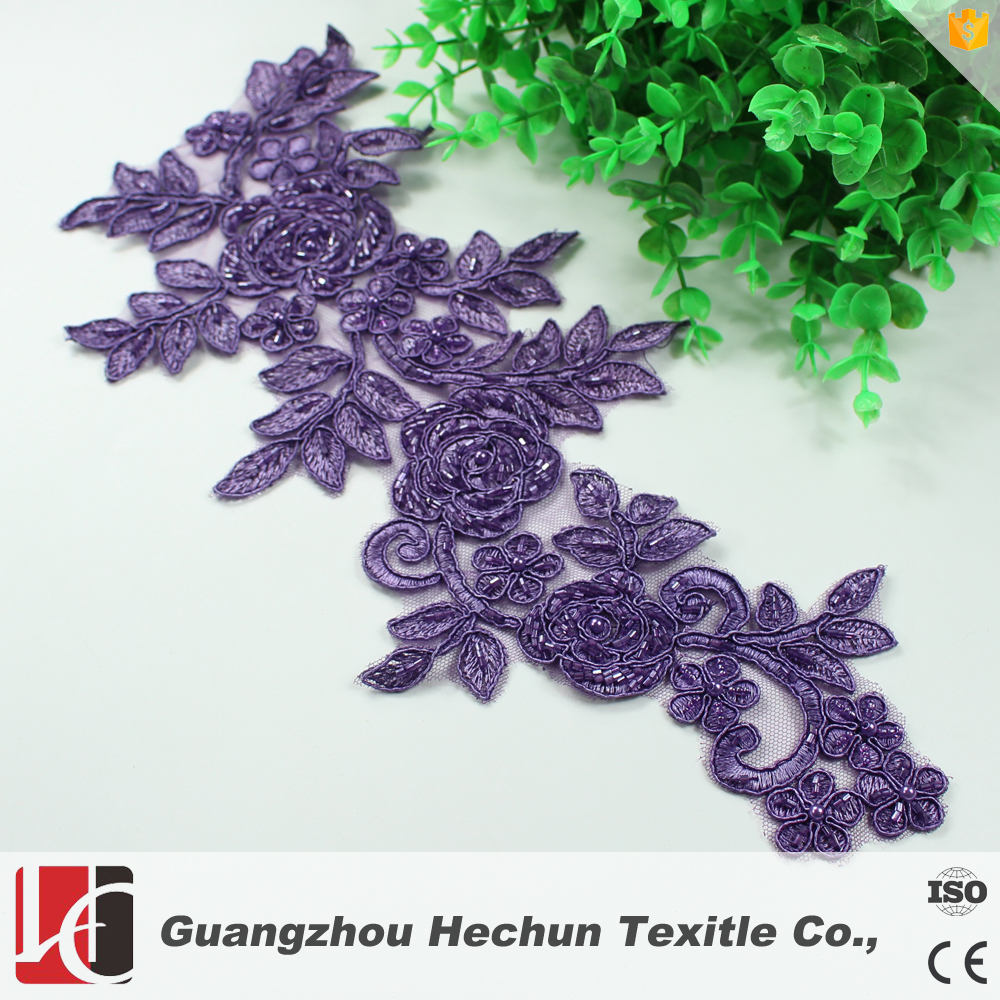 factory provide bridal beaded lace applique for sale