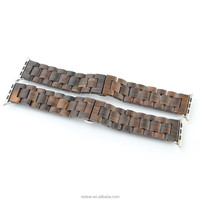 Unique eco Friendly Wristband Bamboo and Natural Ebony Wood Strap Stainless Steel Buckle for Apple Watch