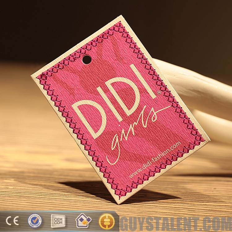 China custom paper swing tags folded garment hang tags for clothing