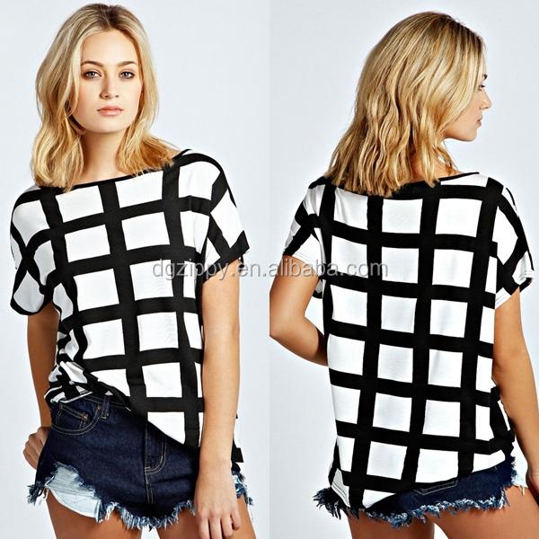 dames blouse zwart wit