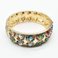 Fashion Jewelry Gold Alloy Woman Vintage Bangles with Austrian Rhinestone 18K Gold Bracelet