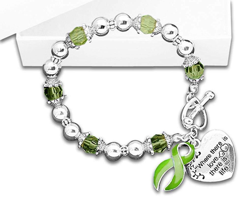 """Muscular Dystrophy Awareness """"Where There is Love There is Life"""" Heart Charm Bracelet with Gift Box (1 Bracelet - Retail)"""