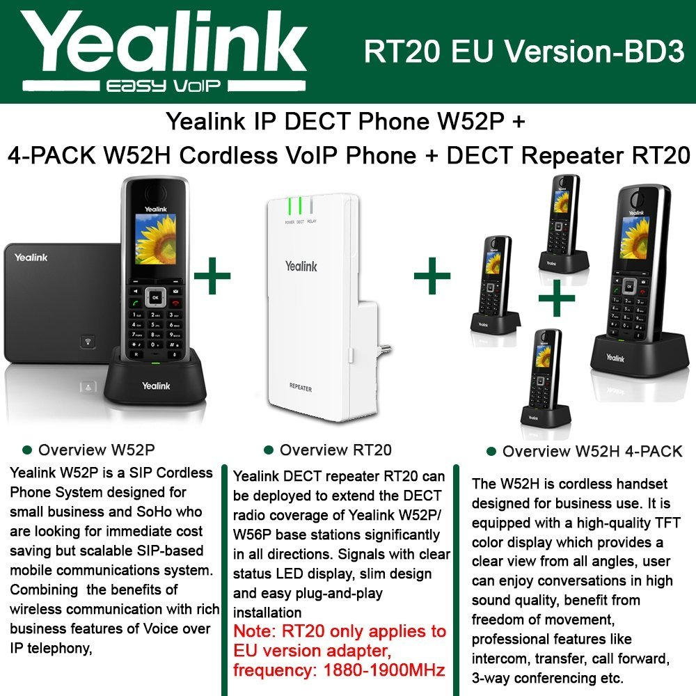 Yealink W52P IP DECT Phone + 4PACK W52H Cordless VoIP Phone + DECT Repeater RT20