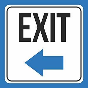 Aluminum Metal 6 Pack White Exit Left Arrow Sign