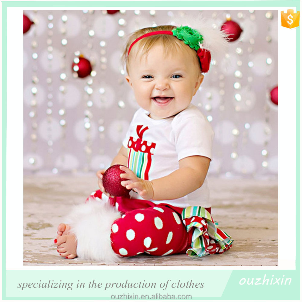Christmas Baby Girls Dresses Suit Three Pieces Red Baby Cotton ...