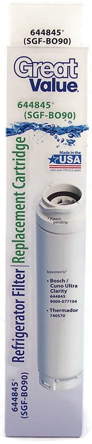 Great Value Refrigerator Water Replacement Filter Bosch/Cuno Ultra Clarity 644845 (SGF-BO90)