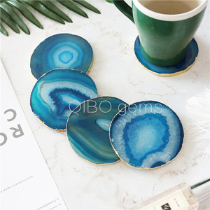 gold agate slices wholesale coasters - 4 in a pack oringinal slices for drink cup
