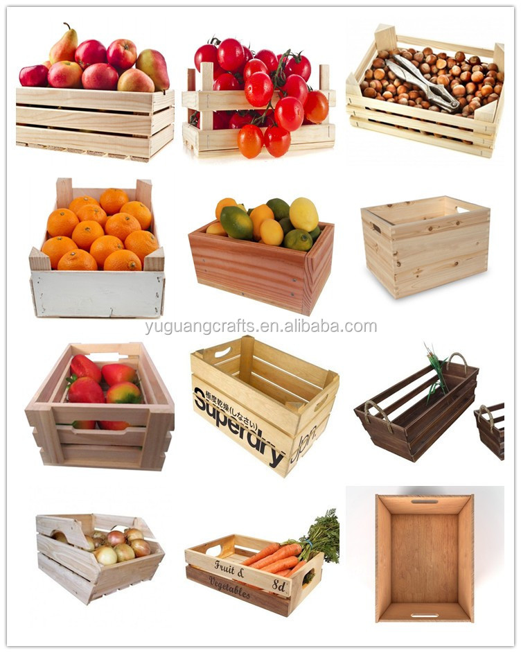 Customize made unfinished stackable wooden fruit crates for Wooden fruit crates