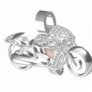 wholesale motorcycle jewelry pearl cage pendant 925 sterling silver jewelry settings with bling bling zircon