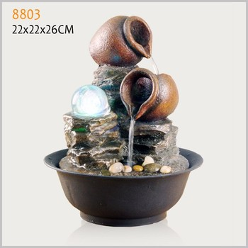 Polyresin Indoor Table Fountain Item Feng Shui Mini Water ...