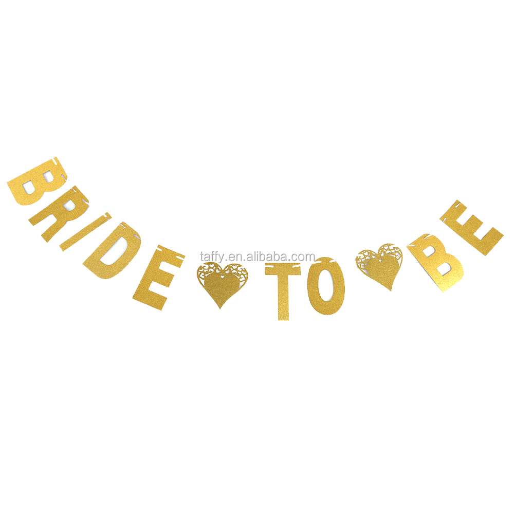 2017 new bachelorette hen party decorations gold silver glitter BRIDE TO BE banner