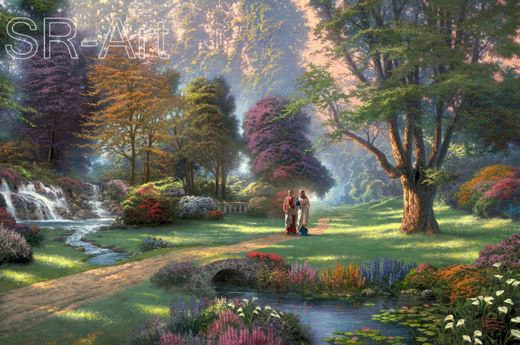 Printed Poster Wall Art Home Decor HD Prints Oil Paintings on Canvas Thomas Kinkade Landscape Beautiful Art