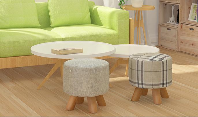 Piccolo rotondo in legno divano sgabello per bambini scarpe che