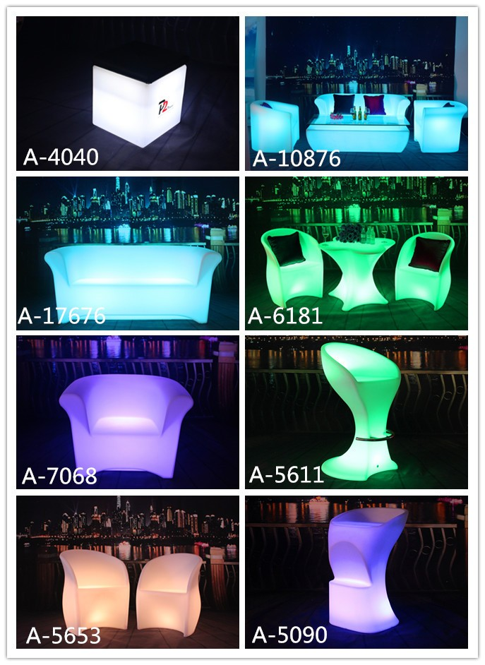 Plastic lounge event LED glowing furniture , Portable Apple LED cocktail  bar table 16color change with