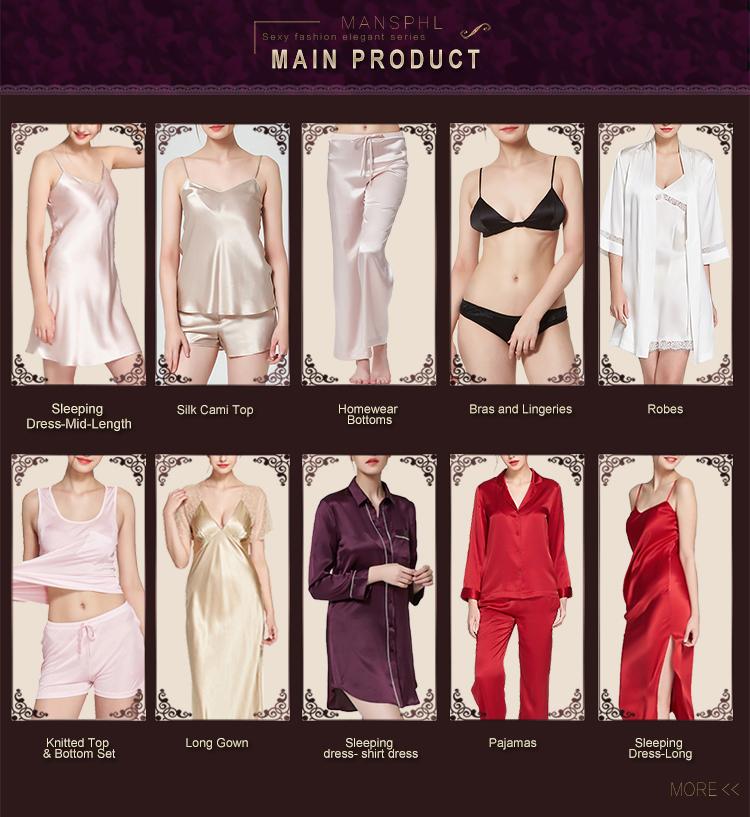 Retail Wholesale Ladies' Basic Elegant 100% Silk Satin Adjustable Pajama Pants Sleepwears