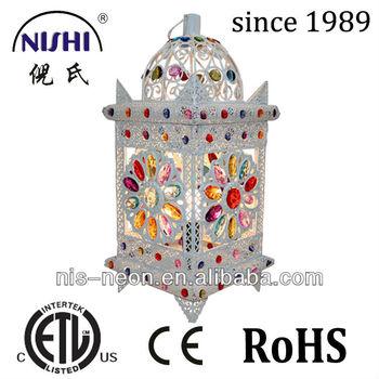 Moroccan Lantern Lamp Multi Color Crystal Metal Table Lamp Wholesale