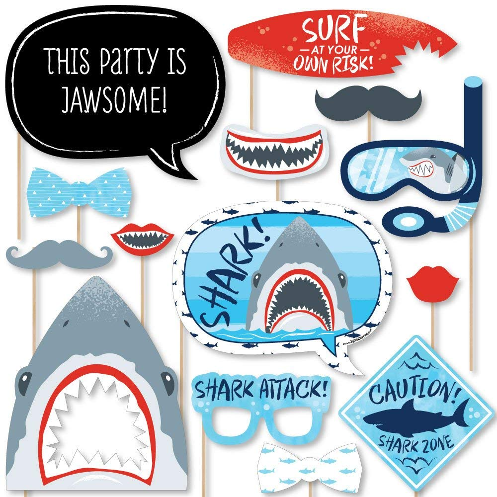 Big Dot of Happiness Shark Zone - Jawsome Shark Party or Birthday Party Photo Booth Props Kit - 20 Count