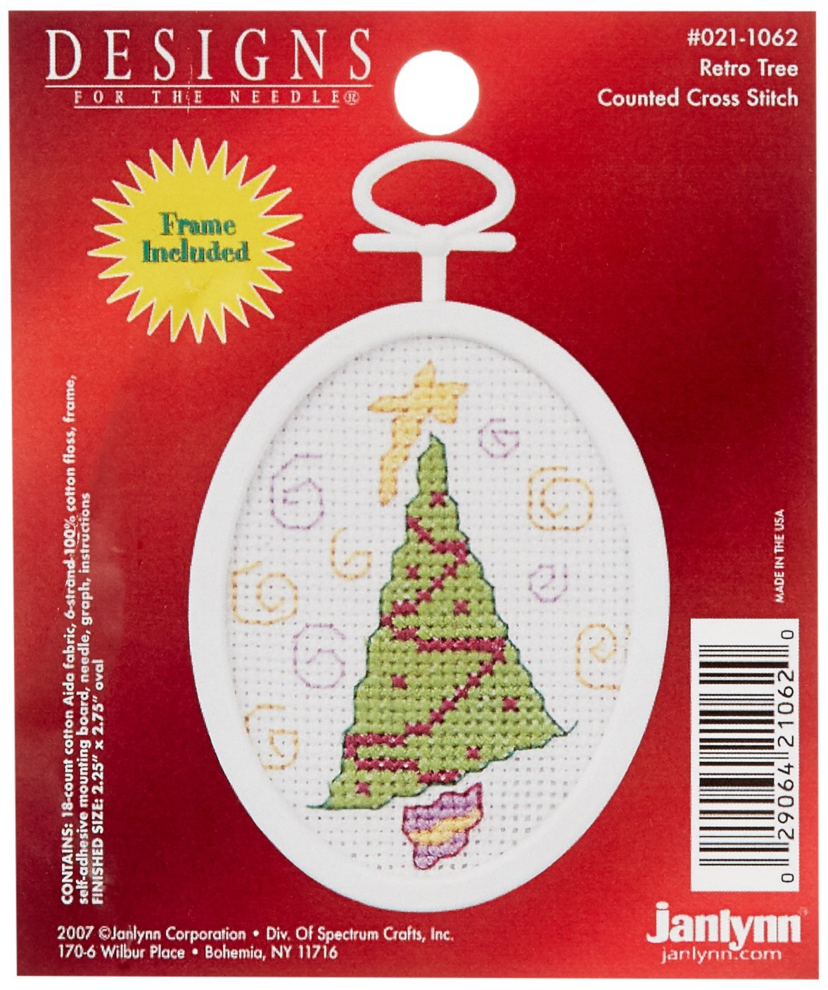 "Retro Tree Mini Counted Cross Stitch Kit-2-1/4""X2-3/4"" Oval 18 Count (21-1062)"