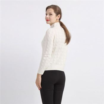 Autumn and winter short pattern custom fit high-neck lady thick knitted cashmere sweater