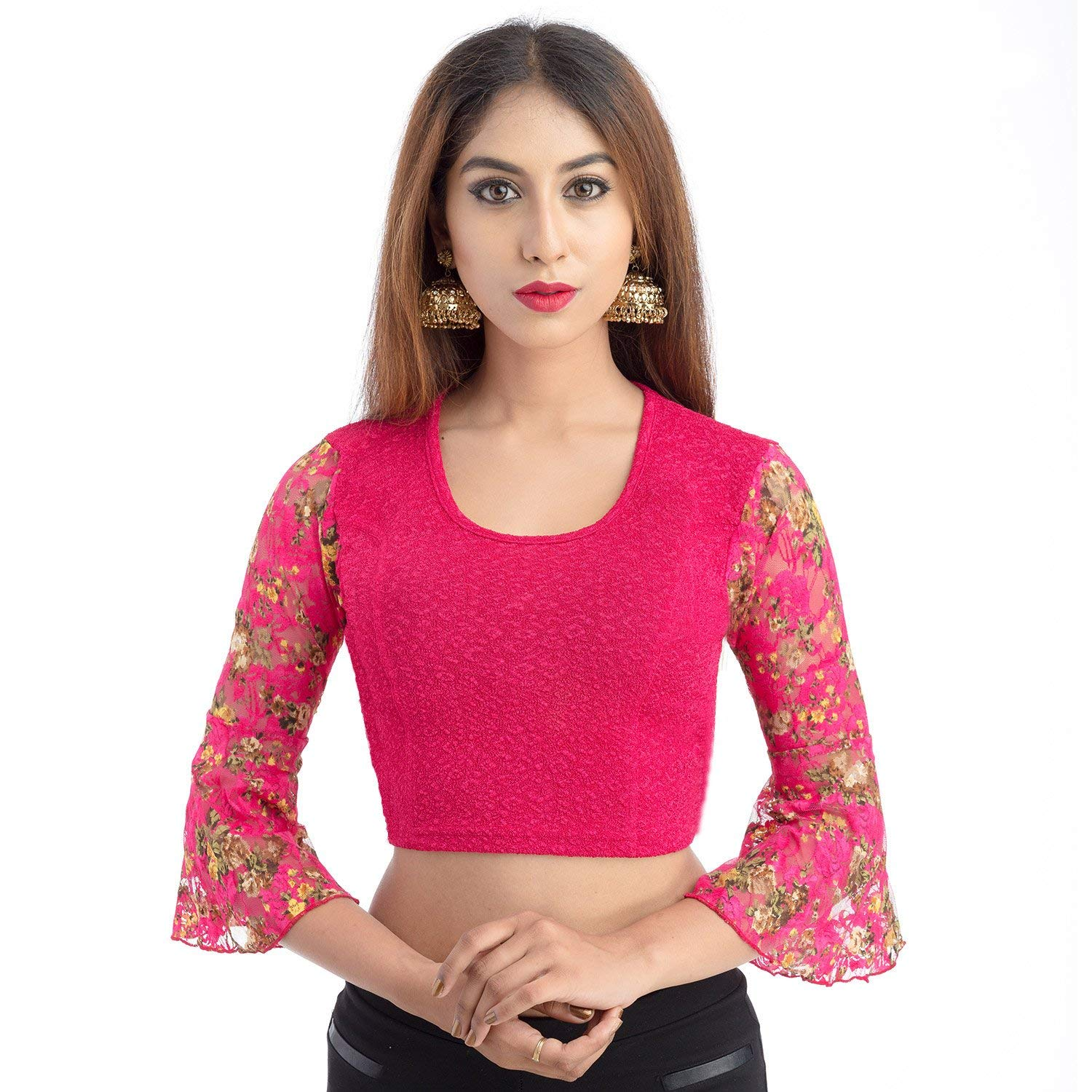 Lionize Women's Lycra 3/4th Sleeve Scoopneck Stretchable Crop Top/Blouse