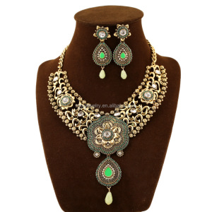New bohemia India Gypsy silver green gemstone tribal belly dance Women necklace earrings Jewellery