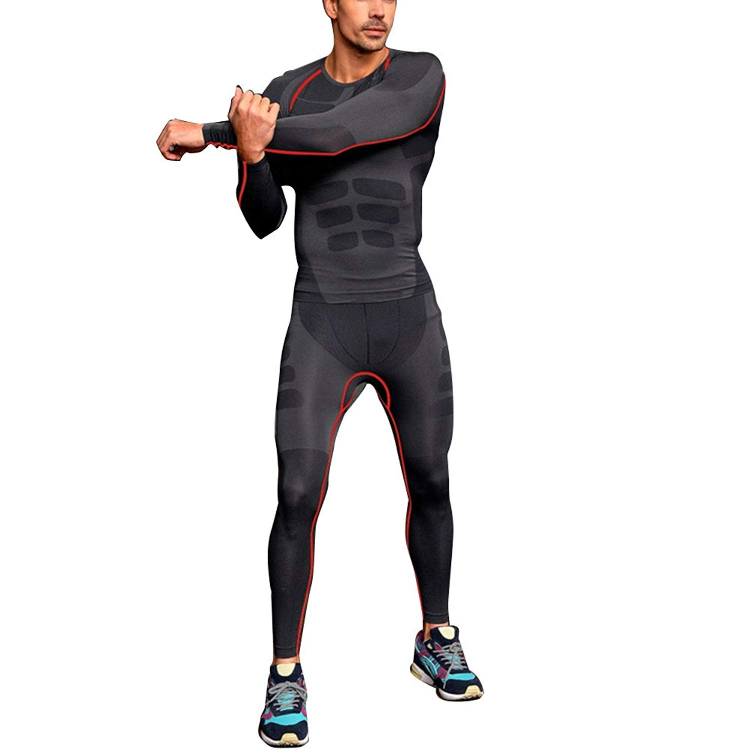 7f6d9f0495 Get Quotations · ROPALIA Men Compression Pants Base Layer Tight Gear Skin  Tight Sport Wear Pants